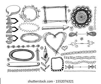set of doodle frame, dividers and design element raster version illustration