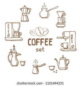 Set of doodle hand drawn sketches isolated on white background. Filter coffee pots and coffeemakers. Design elements for cafe menu, fliers and chalkboards.