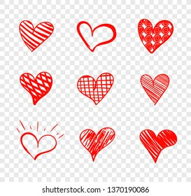 Set of Doodle Hearts Isolated on Transparent Background, Red Drawings Collection, Love Symbols.