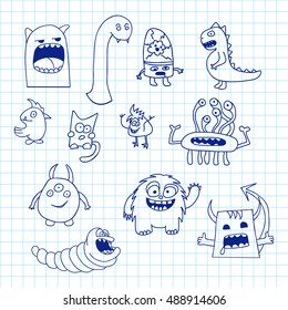Set Of Doodle Monsters Icons On Notebook Doodles Cute Elements Black Vector Coloring