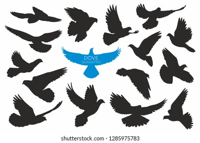 Set of doves silhouettes