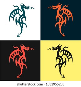 Set dragon tattoo or emblem Traditional Chinese Asian style. The symbol of wealth and luxury