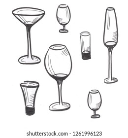 set of drawn sketches, glass goblets isolated on white background