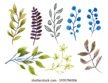 Set with easter ang different plants. Watercolor hand drawn illustration