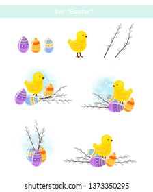"""Set """"Easter"""". Chicken, Easter eggs and willow branches. Raster clip art."""
