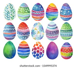 Set of easter eggs with geometric and floral ornaments. Watercolor illustration.