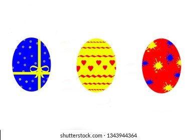 Set of easter eggs on a white background - stockphoto