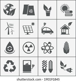 Set of eco energy icons with wind  nuclear  and solar power  electric car  recycling  eco light bulb  maize  biofuel  rechargeable battery  photovoltaic panel  wind turbine and a green house