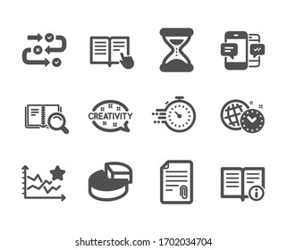 Set of Education icons, such as Timer, Read instruction, Time management, Search book, Creativity, Survey progress, Attachment, Ranking stars, Time, Pie chart, Smartphone sms. Timer icon.