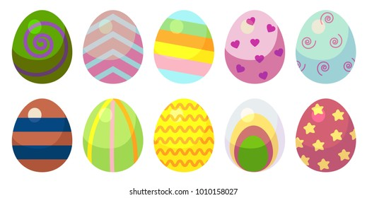 a set of eggs with patterns. Ten eggs with different patterns of different colors