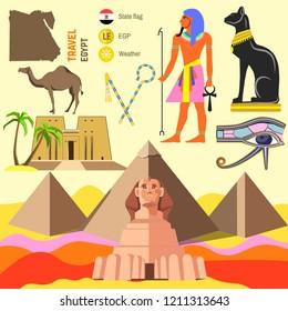 set of Egypt symbols.