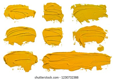 Set of eight textured yellow oil paint brush stroke, convex with shadows, isolated on white background. Each item can be downloaded separately in high resolution in my portfolio.
