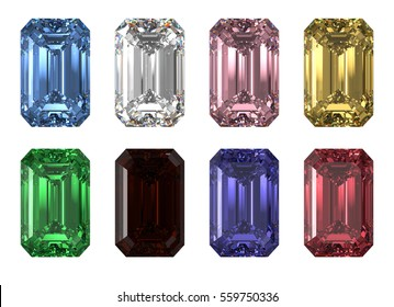 Set of eight various color rectangle emerald-cut diamonds isolated on white background. Photo-realistic 3D rendering illustration image