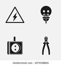 Set of electricity flat  icon.