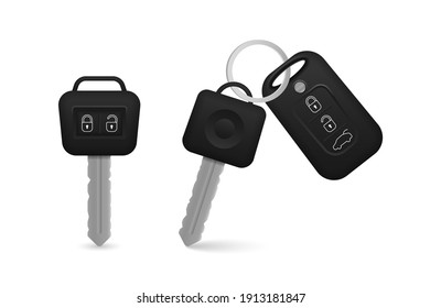 Set of electronic car key front and back view and alarm system. Realistic car keys black color isolated on white background. 3d realistic mockup.