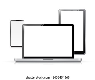 Set of electronic devices over a white background