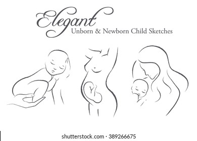 Set of elegant female silhouettes in a linear sketch style (expectant mother, newborn child, mother and child)