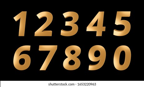 Set of elegant golden metal numbers isoleated on dark background. 3D rendering.