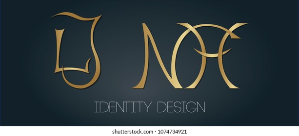 Set of elegant monograms with golden letters LJ and NH on dark background for logotype design and branding