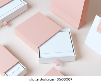 Set elegant packaging box 3d rendering