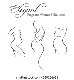 Set of elegant pregnant woman silhouettes in a linear sketch style (expectant mother, prospective mother, prenatal care)