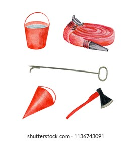 Set of element for firefight. Bucket with water, ax, cone, firehose, hook. Watercolor illustration isolated on white.