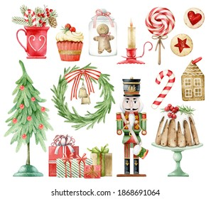 Set of elements for Christmas. Watercolor hand-drawn illustration. Gifts, cupcake, cake, Nutcracker, Christmas tree, cookies, wreath with bells, candle. Winter holiday.