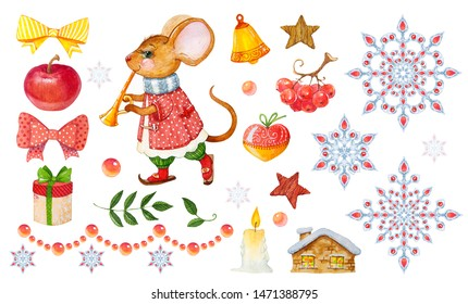 set of elements for the design of the template Christmas card with a character mouse, rat, snowflakes, gifts, toys, Apple, hand-drawn watercolor in children's cartoon style isolated on a white backgro
