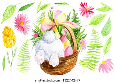 set of elements for easter on a white background, tail and paws of a bunny in a basket with eggs and flowers, watercolor illustration, hand drawing