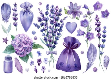 Set of elements lavender flowers, hydrangea, bags, bottles, beads and hearts, watercolor drawings