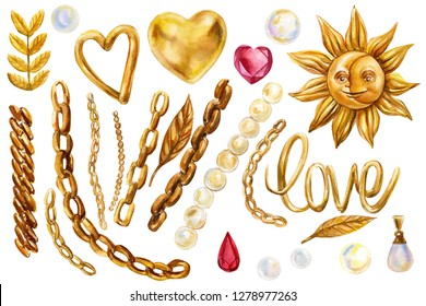 set of elements on a white background, gold chains, diamonds, beads, heart, ruby, feather, inscription love, pearls, sun and moon watercolor illustrations