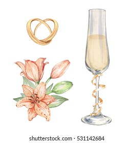 Set of elements for wedding design postcards, posters, invitations. Watercolor painting. Handmade drawing. Isolated on white