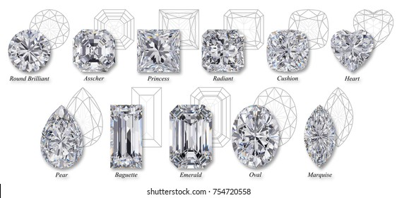 Set of eleven the most popular diamond cuts and shapes, isolated top view on white background with design names and schematic diagrams. 3D rendering illustration