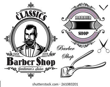 set of  emblems on a theme barber shop