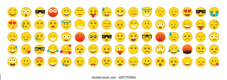 Set of Emoticons. Emoji. Smile icons. Isolated illustration on white background