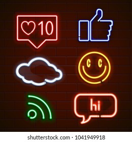 Set of emoticons, glowing emoji isolated on black background.
