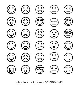 Set of Emoticons icons outline, Emoji and Avatar.