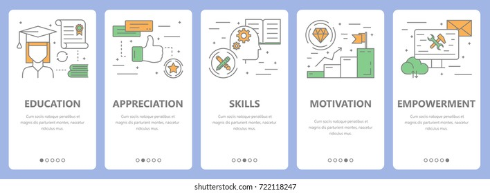 Set of employee concept vertical banners. Education, appreciation, skills, motivation and empowerment concept elements. Thin line flat design symbols, icons for website menu, print.
