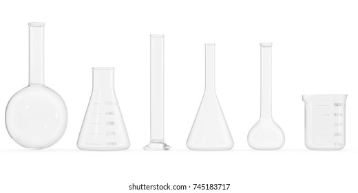 Set empty Chemistry flasks isolated on white background. Science chemistry concept. Empty Laboratory test tubes and flasks. 3D rendering