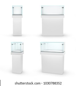 Set of empty glass showcases in cube form for presentation on white background. Jewelry showcase. 3d illustration