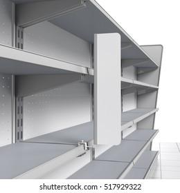 set of empty shelves with shelf-stopper in supermarket. 3D rendering
