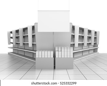 set of empty shelves with shelf-stoppers in supermarket. 3D rendering