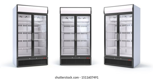 Set of empty showcase refrigerators in the grocery shop. Fridge with glass door isolated on white.  3d illustration