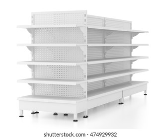 Set of empty supermarket shelves isolated on white background. Include clipping path. 3d render