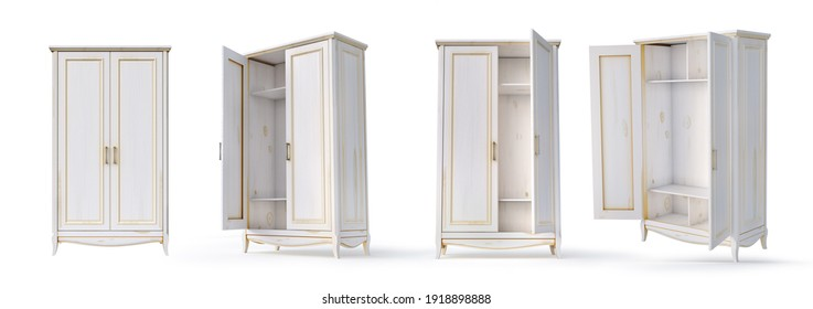Set of empty white cupboards on a white background. 3d illustration