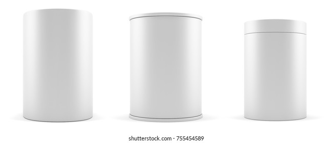 Set of empty white realistic cylinders, podium or banner. 3d illustration