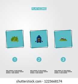 Set of encampment icons flat style symbols with mountains, forest, rubber boat and other icons for your web mobile app logo design.