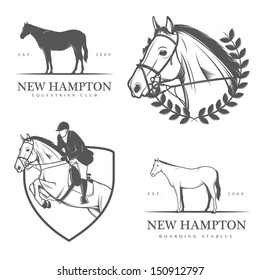 Set of equestrian stables labels and badges