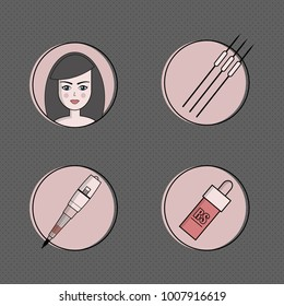 set of equipment for permanent make-up. Used for icons on the site, business cards, advertisements.