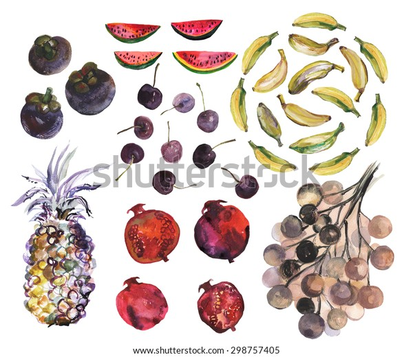 Set of exotic fruits; bananas, pineapple, pomegranate, cherries, watermelon, mangosteen, longan. Watercolor illustration.